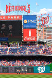 Baseball - Washington Nationals Mascots Racing. A view of the President mascots of the Major League Baseball Washington Nationals, on a beautiful blue sky day in Royalty Free Stock Photography