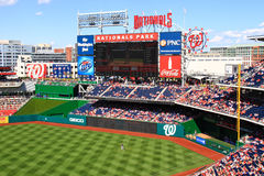 Baseball Washington Nationals Park Scoreboard. A beautiful view of the scoreboard and giant tv screen in right field at Nationals Park, home of the Major League Stock Image