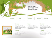 Baseball web site design. Template Stock Image
