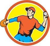 Baseball-Werfer-Außenfeldspieler-werfende Ball-Karikatur Lizenzfreie Stockfotos