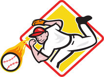 Baseball-Werfer-werfender Feuer-Ball-Diamant Stockfotografie