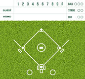 Baseball white line, game score display and green grass field ba. Outdoor baseball white line, game score display and green grass field background Royalty Free Stock Images