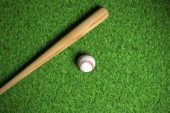 Baseball and wodden bat stock image
