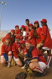 Baseball Women Team Holding Trophy Royalty Free Stock Image