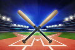 Baseball wooden bats with baseball stadium in motion blur Royalty Free Stock Image