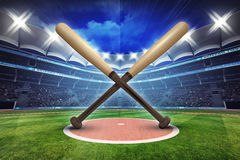 Baseball wooden bats with stadium in motion blur royalty free illustration