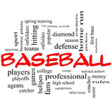 Baseball Word Cloud Concept in Red Caps Stock Photo
