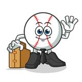 Baseball worker holding suitcase mascot vector cartoon illustration. This is original from me Stock Photo