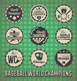 Baseball World Champion Labels. And icons in a vintage style Royalty Free Stock Photo