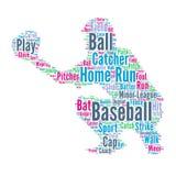 Baseball - Wortwolkenillustration mit Baseball-Spieler lizenzfreie abbildung