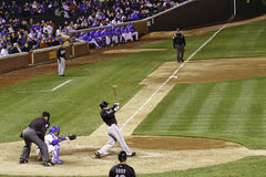 Baseball - Wrigley Field Batter Swings Hard Stock Image