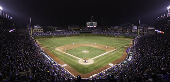 Free Baseball - Wrigley Field Pano At Night Royalty Free Stock Photography - 14728187
