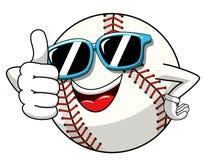 Baseballa charakteru maskotki kreskówki okularów przeciwsłonecznych balowy kciuk w górę gesta wektoru odizolowywającego royalty ilustracja