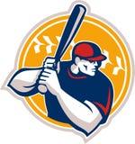 Baseballa ciasta naleśnikowego uderzającego uderzenia kijem strona Retro Zdjęcia Stock