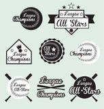 Baseballa Etykietki Ligowy Mistrz i Grać główna rolę Etykietki Zdjęcie Royalty Free