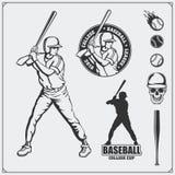Baseballa klubu emblematy, etykietki i projektów elementy, Gracz baseballa, piłki, hełmy i nietoperze, Gracz baseballa, piłka, he royalty ilustracja