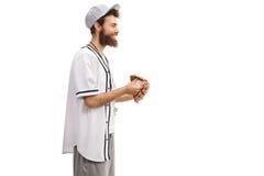Baseballa trener z piłką i rękawiczką Obrazy Stock