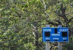 Baseballaußenfeldanzeigetafel, im Largo, Florida lizenzfreies stockfoto