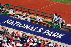 BaseballbesökareDugout - medborgarePark Arkivfoto