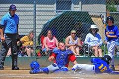 Baseballe desliza na HOME Fotografia de Stock