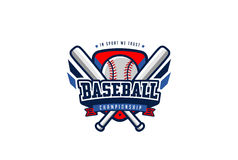BaseballemblemLogo Design vektor T-tröjasport Team Label royaltyfri illustrationer