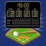 Baseballfält med funktionskortet, nummer, slagträ, boll Royaltyfri Fotografi