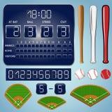 Baseballfält med funktionskortet, numrerar, slagträn, bollar Royaltyfri Foto