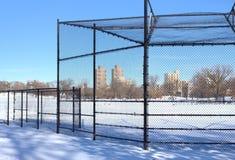 Baseballfält som täckas med snö jpg Fotografering för Bildbyråer