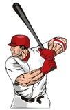 Baseballgeschlagener eierteig, der Kugel schlägt Stockfoto