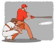 Baseballgeschlagener eierteig und -fangfederblech Lizenzfreies Stockbild