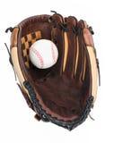 Baseballhandske med baseball. Arkivfoton