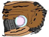 Baseballhandske med bollen på vit bakgrund Arkivbild