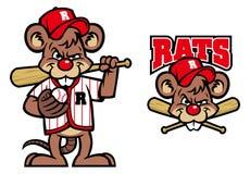 Baseballi szczurów maskotka Obraz Royalty Free