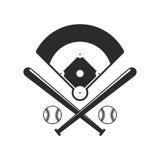 Baseballikonen Feld, bals und Baseballschläger in der flachen Art auf weißem Hintergrund Stockfotografie