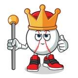 Baseballkönigmaskottchenvektor-Karikaturillustration lizenzfreie abbildung