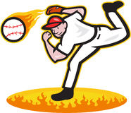 Baseballkanna som kastar bollen på brand Royaltyfri Fotografi