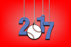 Baseballl  and 2017 hanging on strings. New Year numbers 2017 and baseball as a Christmas decorations hanging on strings. Vector illustration Stock Photo