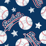 Baseballs και άνευ ραφής σχέδιο αστεριών Στοκ Εικόνα