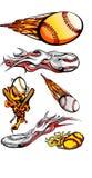 baseballs ρόπαλα που φλέγονται softballs διανυσματική απεικόνιση