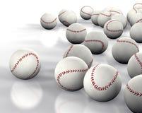 Baseballs. 3D image many baseballs isolated on white Stock Image
