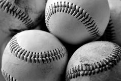 Baseballs. Several baseballs in black and white Stock Photo