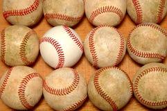 Baseballs. Dozen baseballs 11 old & 1 new stock image
