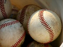 Baseballs. In a bucket Stock Image
