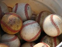 Baseballs. In a bucket Stock Photos