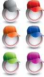 Baseballs and baseball caps. A collection or set of baseballs with different colored baseball caps or hats Royalty Free Stock Photography