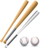 Baseballs and bats. Two baseballs and three bats Stock Image