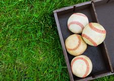 Baseballs in a box Stock Images