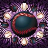 Baseballs en violette lijnen grunge Stock Afbeeldingen