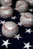 Baseballs and flag Royalty Free Stock Image