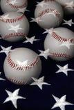 Baseballs and flag. Baseballs on American flag using a double exposure Royalty Free Stock Image